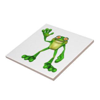Froggie the Cute Cartoon Waving Frog Ceramic Tiles