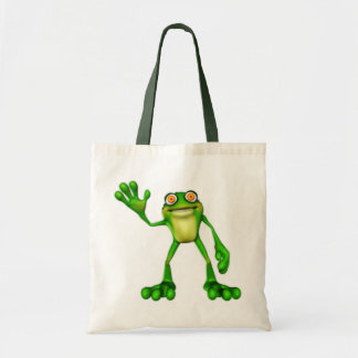 Froggie the Cute Cartoon Waving Frog Tote Bag