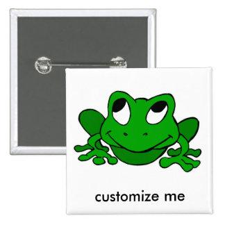 Froggie verde lindo pin cuadrado