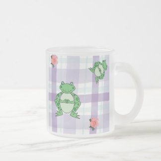 Froggies & Flowers Frosted Glass Mug