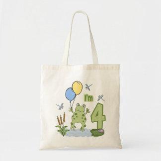 Froggy 4th Birthday Canvas Bags