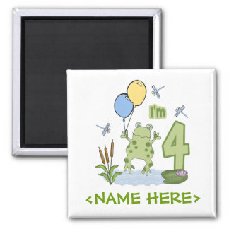 Froggy 4th Birthday 2 Inch Square Magnet