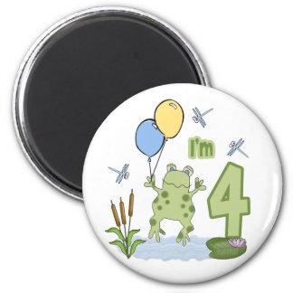 Froggy 4th Birthday 2 Inch Round Magnet