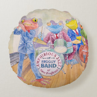 """""""Froggy Band"""" Round Throw Pillow"""