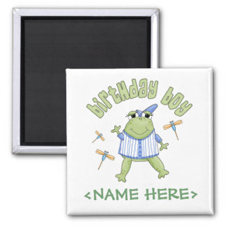 Froggy Birthday Boy 2 Inch Square Magnet