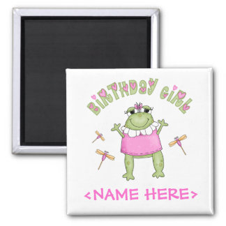 Froggy Birthday Girl 2 Inch Square Magnet