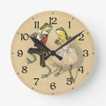 Froggy Cake Walk Round Clock