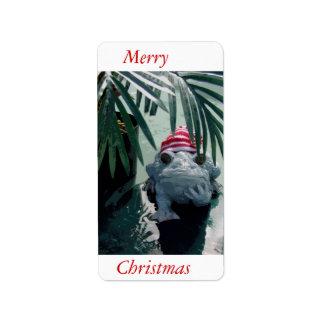 Froggy Christmas Address Label