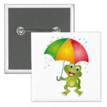 Froggy con el paraguas de la lluvia pin