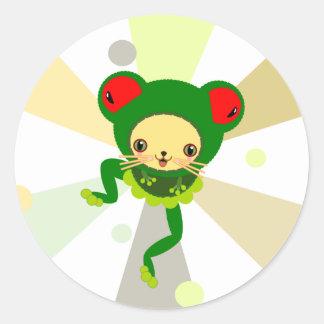 froggy dance round sticker