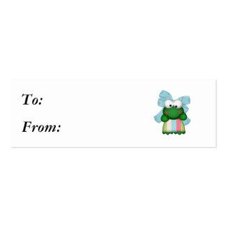 froggy femenino en vestido de la raya con el arco tarjetas de visita mini