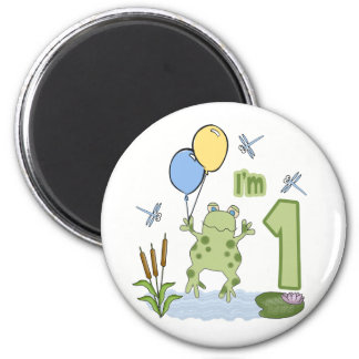 Froggy First Birthday 2 Inch Round Magnet