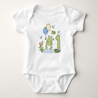 Froggy First Birthday Baby Bodysuit