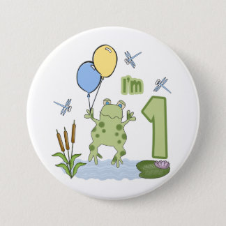 Froggy First Birthday Pinback Button