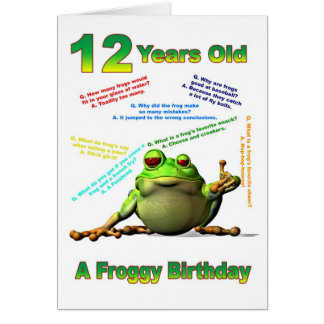 Froggy friend 12th birthday card with froggy jokes
