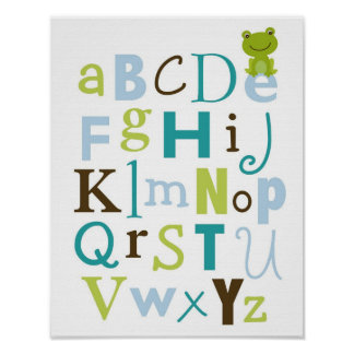 Froggy Frog Boys Alphabet Nursery Wall Art Print