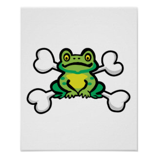 froggy frog Skull and Crossbones Posters