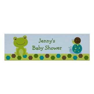 Froggy Frog Snail Baby Shower Banner Sign Poster