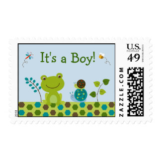 Froggy Frog Snail Bee It's a Boy Postage Stamps