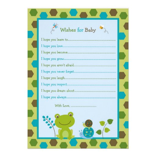 Froggy Frog Snail Bee Wishes for Baby Advice Cards