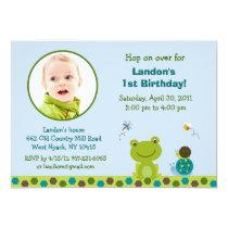 Froggy Frog Snail Boys Photo Birthday Invitation