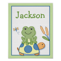 Froggy Frog Turtle Nursery Wall Art Name Print