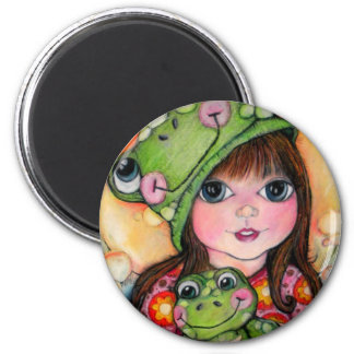 Froggy Fun - Ribbit - Frog Design 2 Inch Round Magnet
