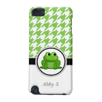 Froggy Green & White Houndstooth iPod Touch 5G iPod Touch (5th Generation) Case