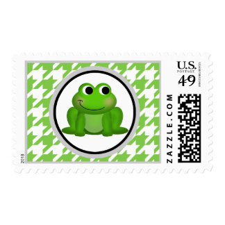 Froggy Green & White Houndstooth Postage Stamps