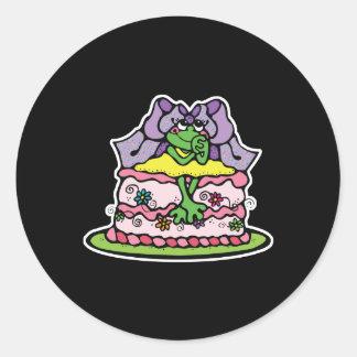 froggy lindo de la torta de cumpleaños pegatina redonda