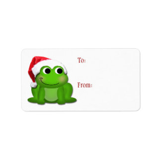 Froggy lindo del gorra de Santa - etiquetas del re Etiqueta De Dirección