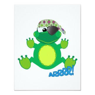 Froggy lindo del pirata de Goofkins Invitación 10,8 X 13,9 Cm