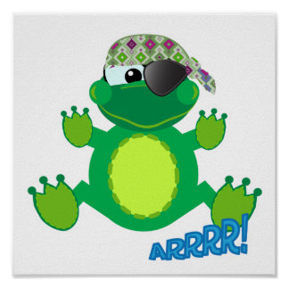 Froggy lindo del pirata de Goofkins Póster
