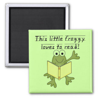 Froggy Loves to Read T-shirts and Gifts Refrigerator Magnets