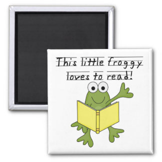 Froggy Loves to Read T-shirts and Gifts Fridge Magnet