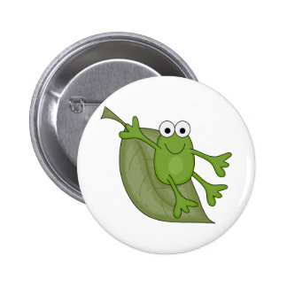 froggy on leaf 2 inch round button