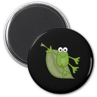 froggy on leaf 2 inch round magnet