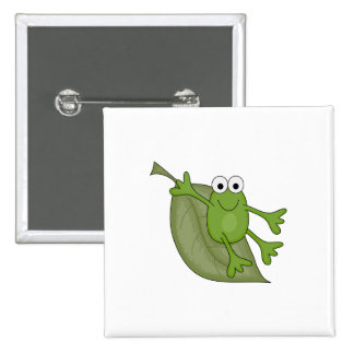 froggy on leaf 2 inch square button