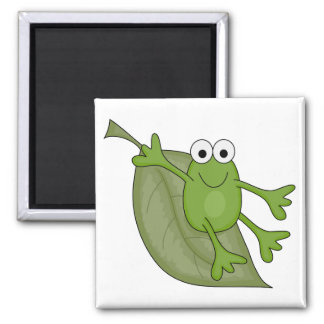 froggy on leaf 2 inch square magnet