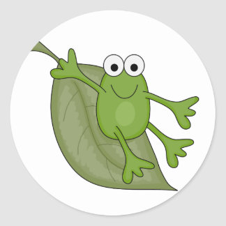 froggy on leaf classic round sticker