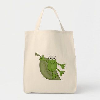 froggy on leaf grocery tote bag
