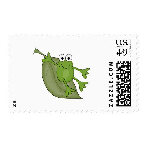 froggy on leaf postage stamp