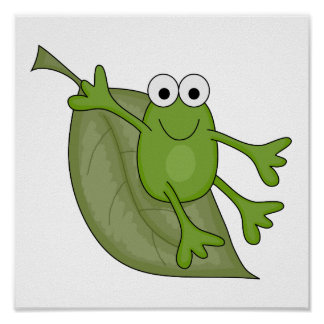 froggy on leaf poster