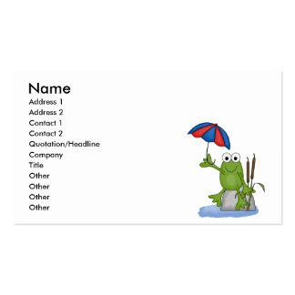 froggy que se sienta debajo del paraguas tarjetas de visita