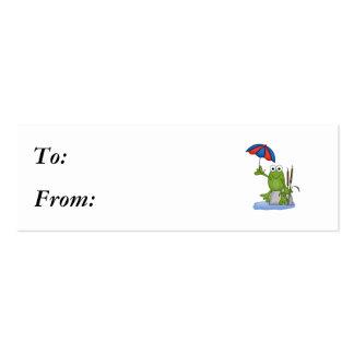 froggy que se sienta debajo del paraguas tarjetas de visita mini