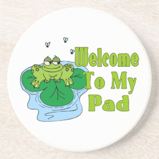 Froggy Says Welcome To My Pad Drink Coaster