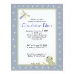 Froggy Tales Blue Border Baby Shower Invitation