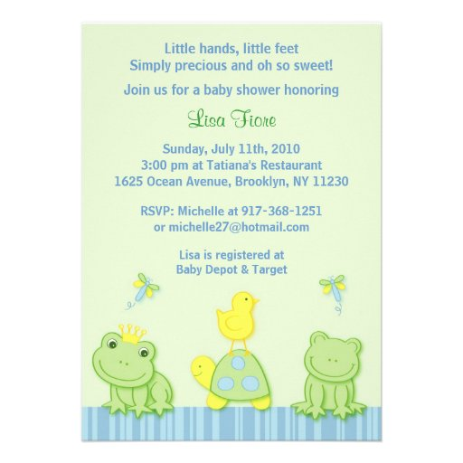 frog custom baby shower invitations 5 x 7 invitation card z