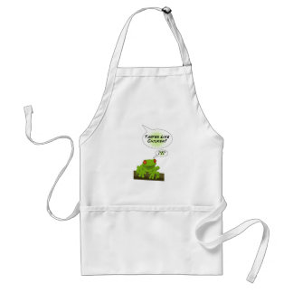 Froggy tastes like chicken. adult apron