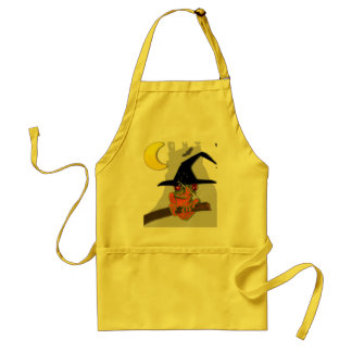 Froggy witch casts a spell adult apron